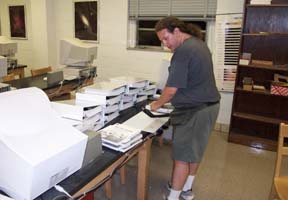 Dr. James, preparing course materials for the workshop